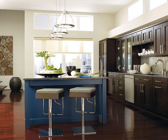 Dark Oak Kitchen Doors: Tall Glass Doors Allow For Emphatic Displays. Dark Wood