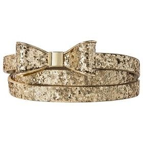 Mossimo Supply Co. Glitter Bow Skinny Belt - Gold : Target Mobile