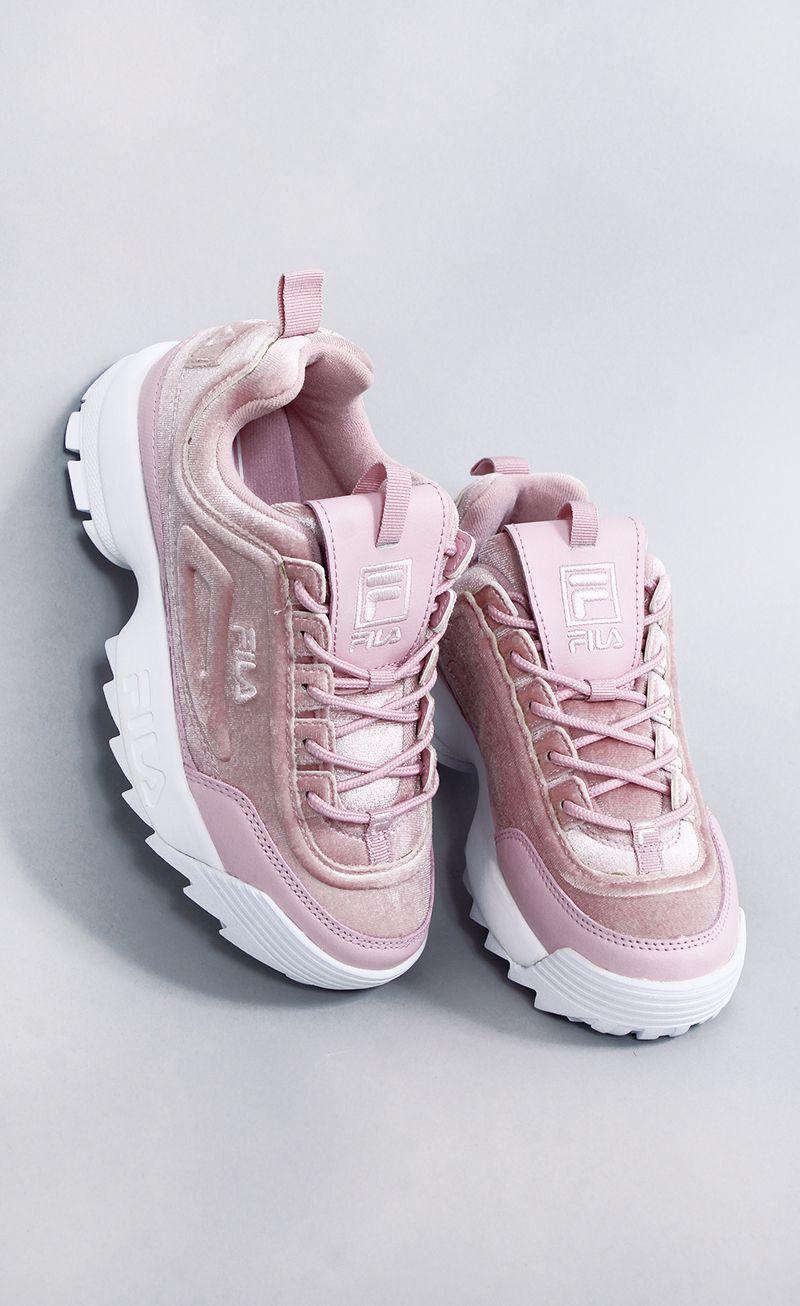 e2a2c4696e9 tênis fila disruptor II premium velour rosa  lojafashioncloset ...