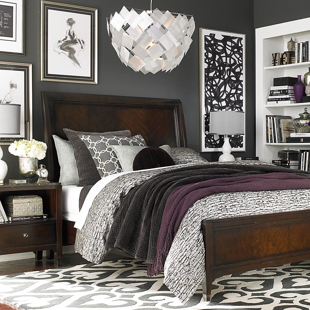 Charming Beautiful Bedroom, Relaxing, Sleigh Bed, Grey + Purple Bedding Set Combo  Love These Colours Together