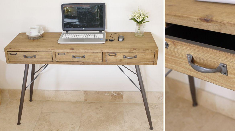 Bureau en métal et bois massif style rétro et atelier meubles