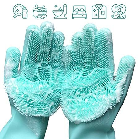 Photo of Apsung Reusable Silicone Dish Washing Brush Scrubber Gloves – Just Slashed