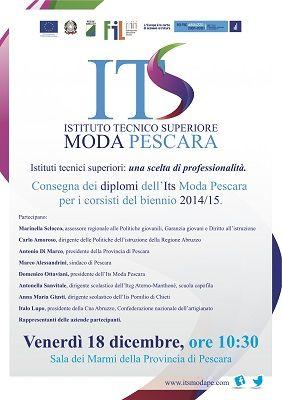 Diplomi dellIts Moda Pescara per il biennio 2014/15