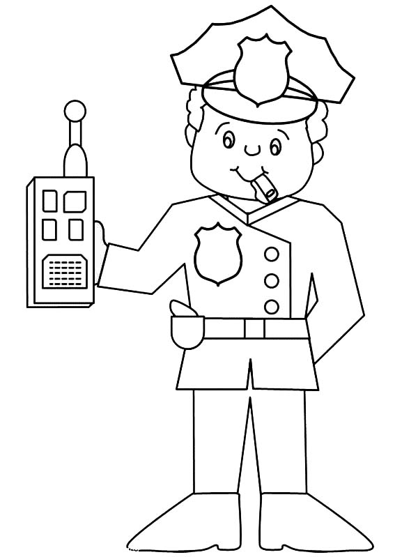 Police Officer With Walkie Talkie Coloring Page Netart In 2020 Coloring Pages Coloring Pages For Kids Police Officer Crafts