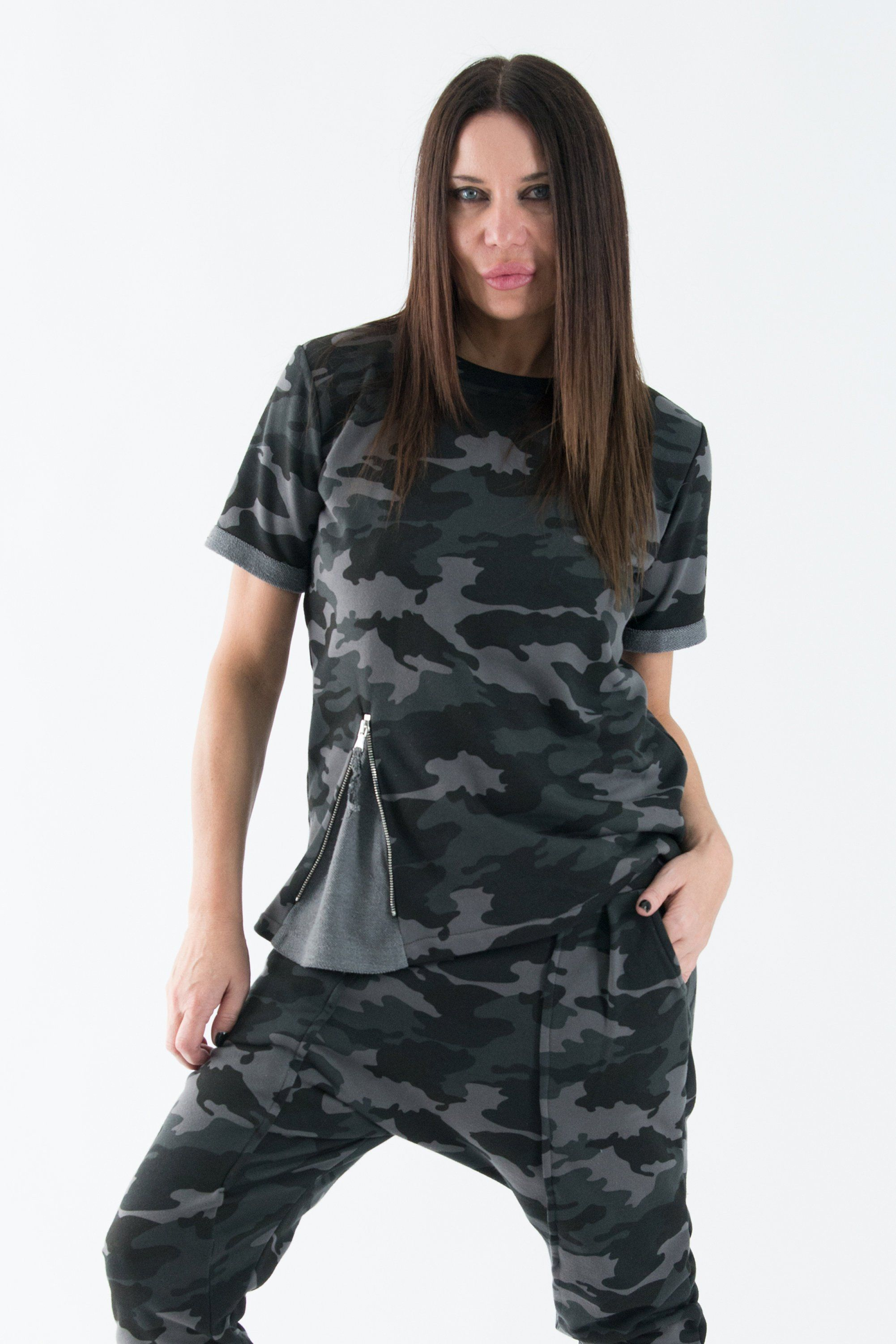 Camouflage Cotton Shirt with Short sleeves, Grey Como Blouse, Fashion  Military Dress by Eug