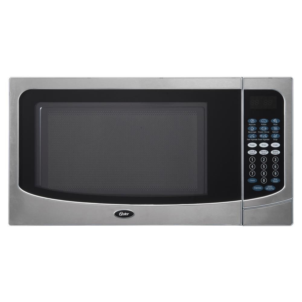 Oster Countertop Microwave Stainless Steel Silver 1 6 Cu Ft 1000 Watt With Push Button Stainless Steel Trim Silver Cabinet Microwave Countertops Stainless Steel