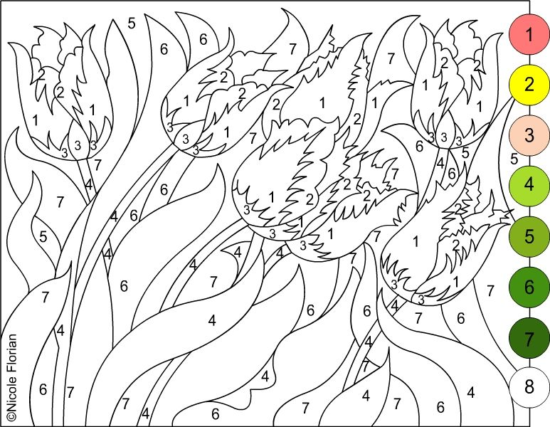 Nicoles Free Coloring Pages COLOR BY NUMBER FLOWERS SPRING Page
