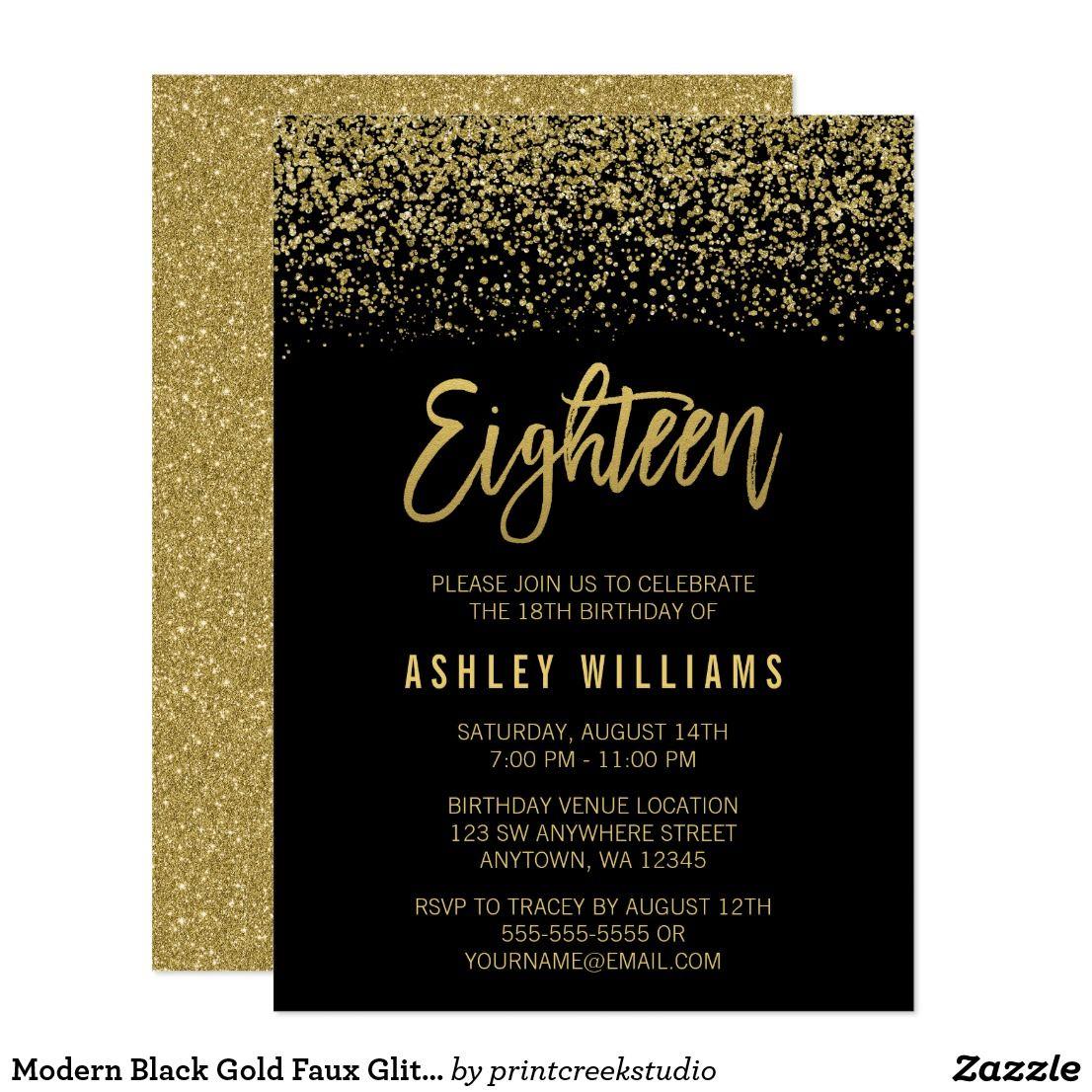 Modern Black Gold Faux Glitter 18th Birthday Card | 18th birthday ...