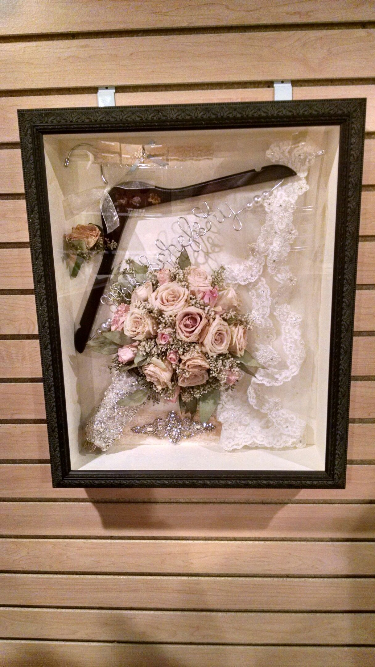 Wedding shadow box: things for me to add; bouquet, hanger, garter ...