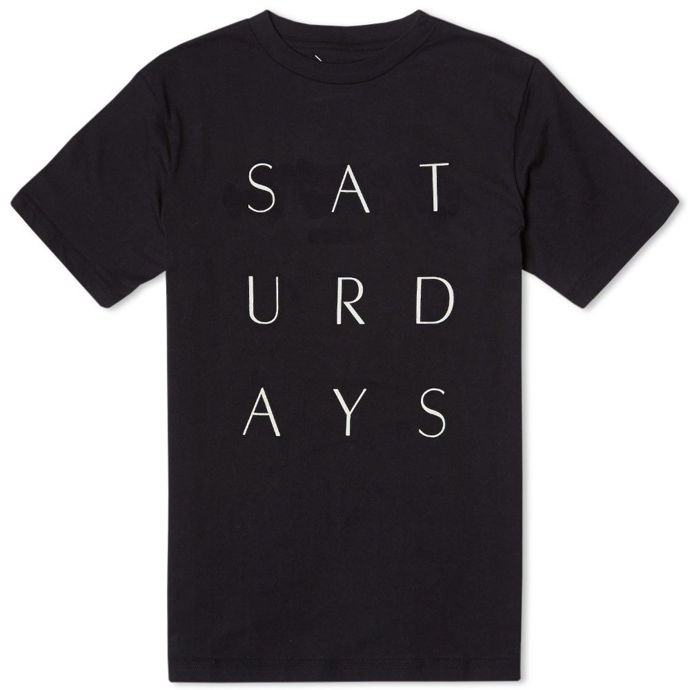 Saturdays thin stack print tee black mens fashion casual wear