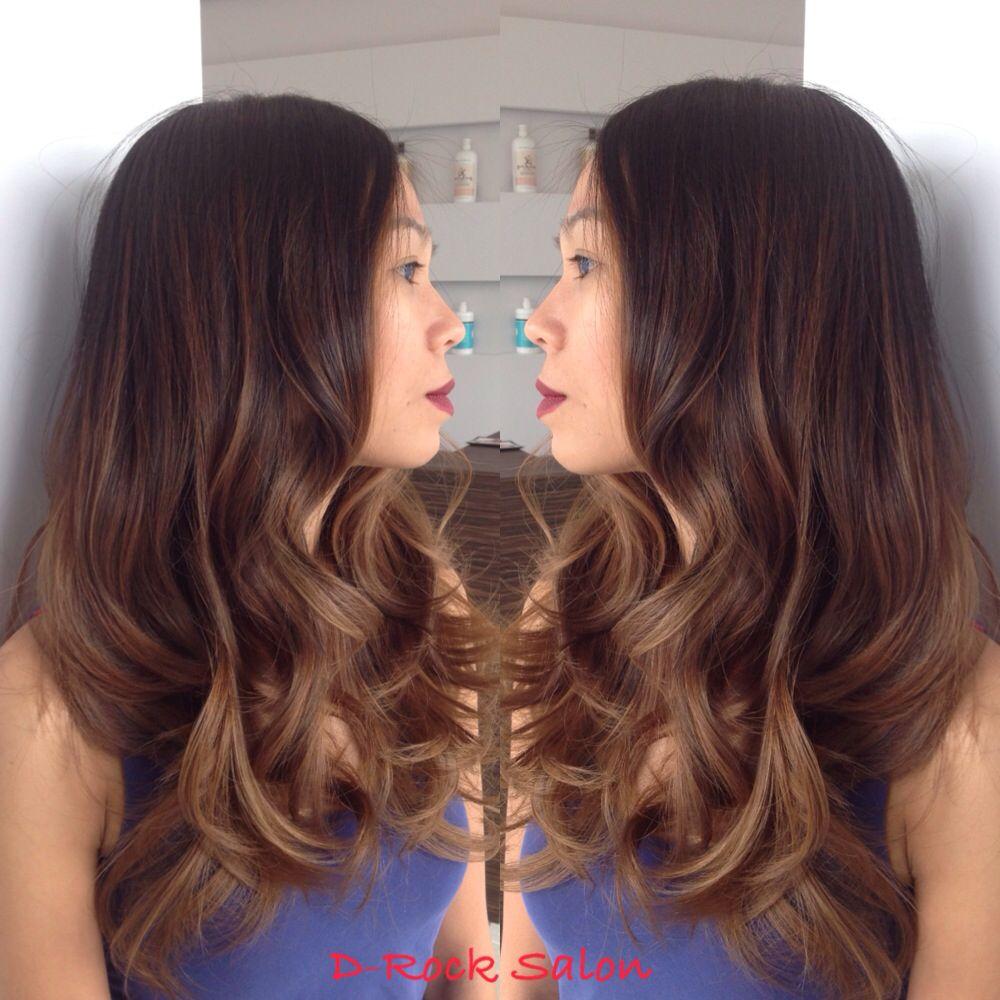 Long Dark Brown Hair With Caramel Balayage Highlights Caramel