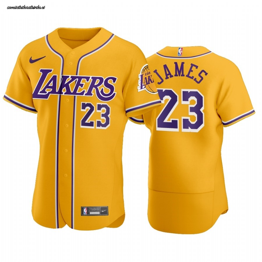 Camisetas NBA Lakers x MLB Manga Corta NO.23 Lebron James Amarillo ...