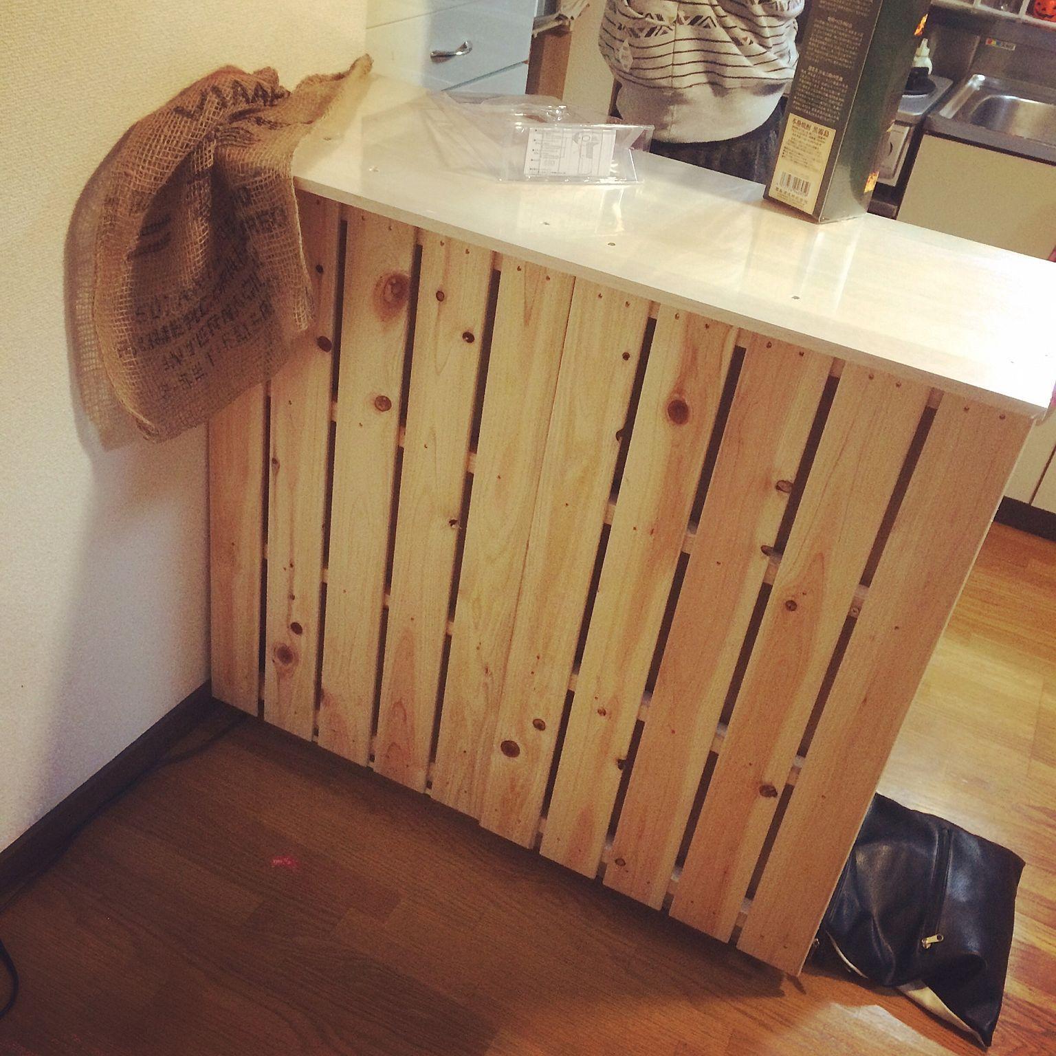 キッチン カラーボックスリメイク すのこdiy キッチンカウンター カフェ風 などのインテリア実例 2016 11 01 09 25 30 Roomclip ルームクリップ パレットで作る家具 インテリアシート パレット壁