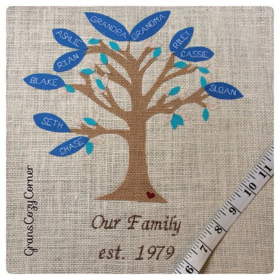Family Tree Pillow cover personalized by GramsCozyCorner on Etsy