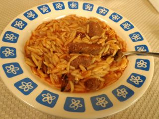 Kokkinisto me Kritharaki (Beef with Orzo in Tomato Sauce) This is another heirloom recipe passed down through the Tiliopoulos family tree. My Giagia Eleni would make this on special occasions becau...
