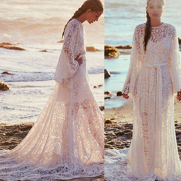 2016 New Stock Plus Size Women Bridal Gown Wedding Dress: Lace Beach Plus Size Wedding Dresses Long Sleeves Boho