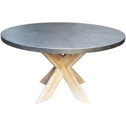Lovely Round Table Amazing Hammered Zinc Top Old Wood Base Grey 54