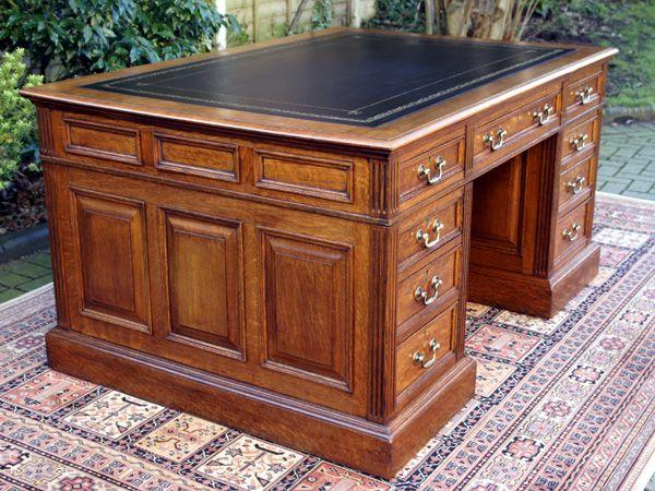 office furniture desk vintage chocolate varnished. Antique Desks: English Office Furniture Desk Vintage Chocolate Varnished