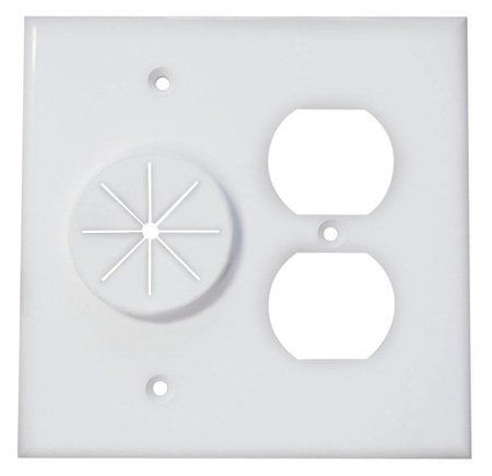 Double Gang Cable Pass Through Wall Plate with Dual Outlet Cover - White