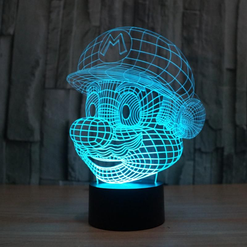 Creative Illusion Lamp 3d Led Night Light Super Mario Acrylic 7 Color Gradient Atmosphere Lamp Novelty Lighting Lampa 3d Led Night Light 3d Led Light Led Decor