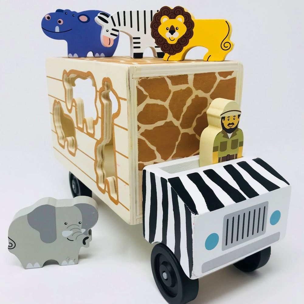 Melissa And Doug Safari Rescue Truck Classic Toy Set Wood Puzzle Animals Shapes Melissadoug Wood Puzzles Classic Toys Toy Trucks