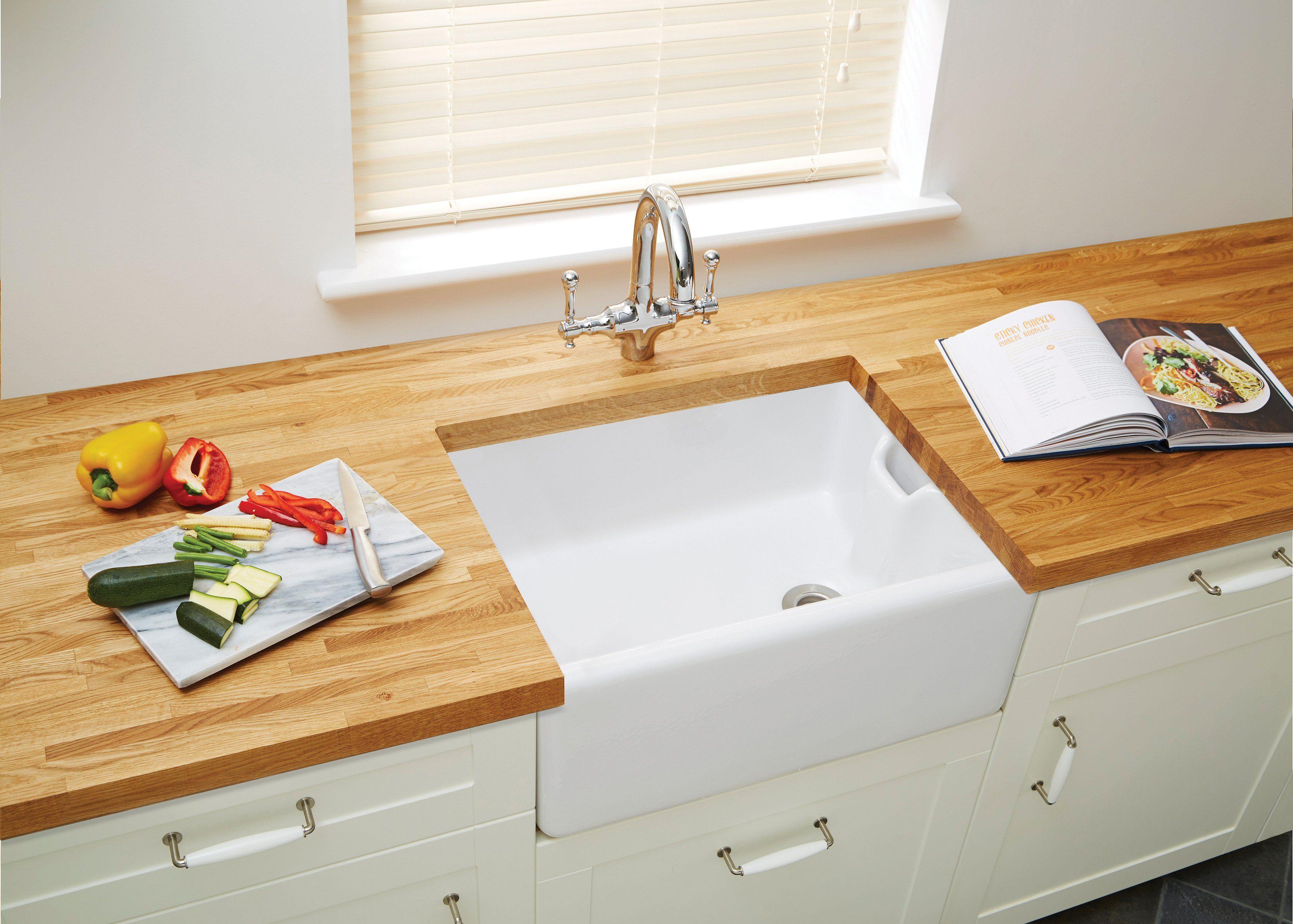 Oak block worktop with ceramic butler sink | Solid Wood Worktops ...