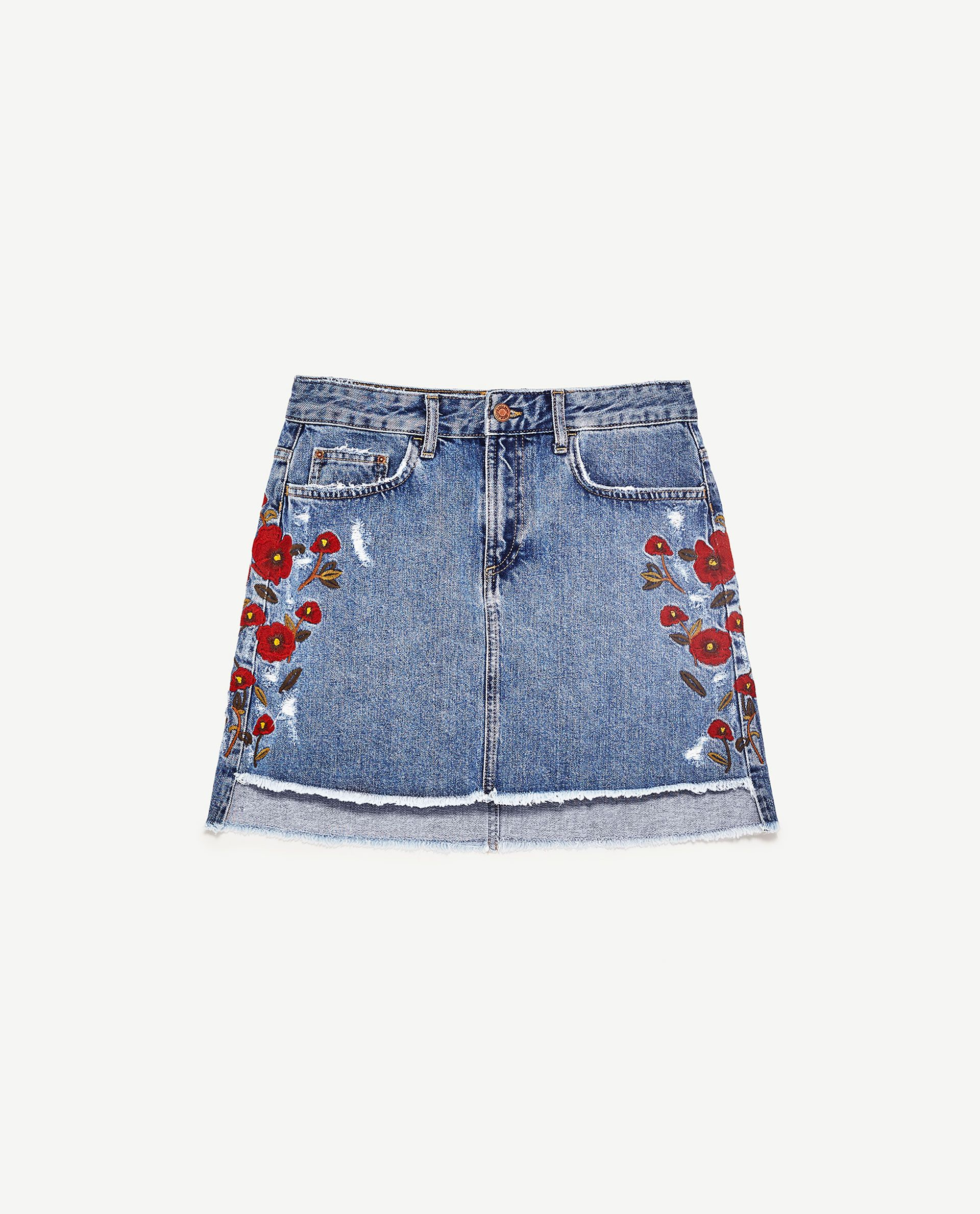 4cac8a4fd Image 6 of FLORAL EMBROIDERED DENIM SKIRT from Zara | moda | Faldas ...