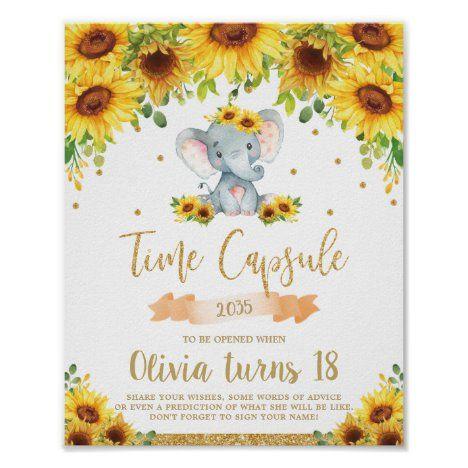 Sunflower Elephant 1st Birthday Time Capsule Poster #UniqueGiftsIdeas #BirthdayGiftsUnique #PersonalizeGifts #ShopCustomizables