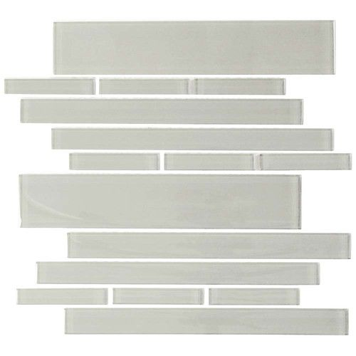 Club random sized glass mosaic tile in light gray also