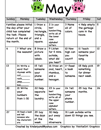 Kinderpond Homework Calendar May   Pinteres