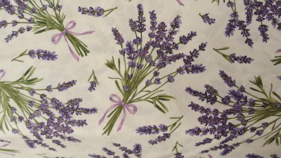 Springtime Lavender Fabric Cotton Quilting Lavender Flowers Sachet Sewing 1 Yard Flower Sachets Lavender Flowers Craft Fabrics