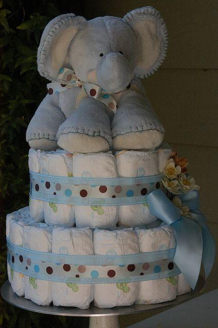 Baby Boy Elephant Diaper Cake Elephant Diaper Cakes