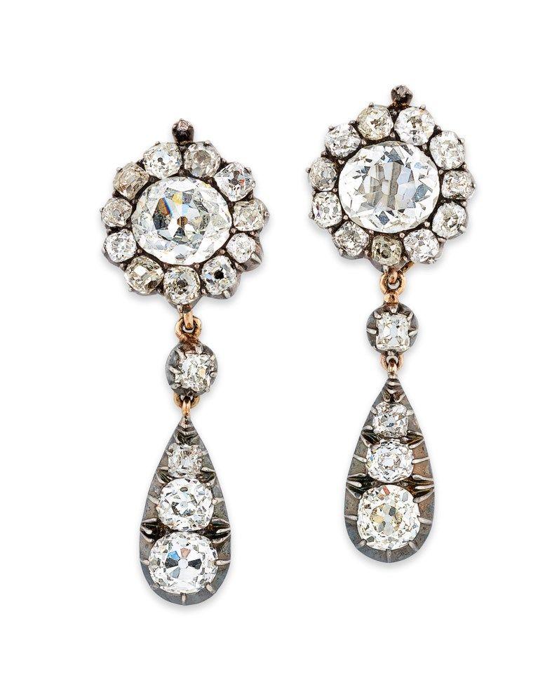 Late 19th Century Diamond Earrings Royal Jewelry Natural Pearl Earrings Jewels