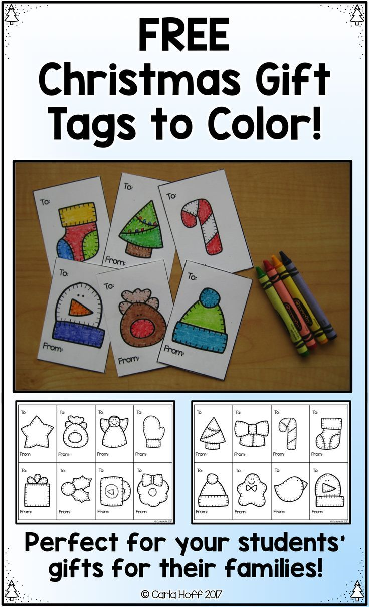 Free Christmas tags for students to color! Super easy, super cute ...