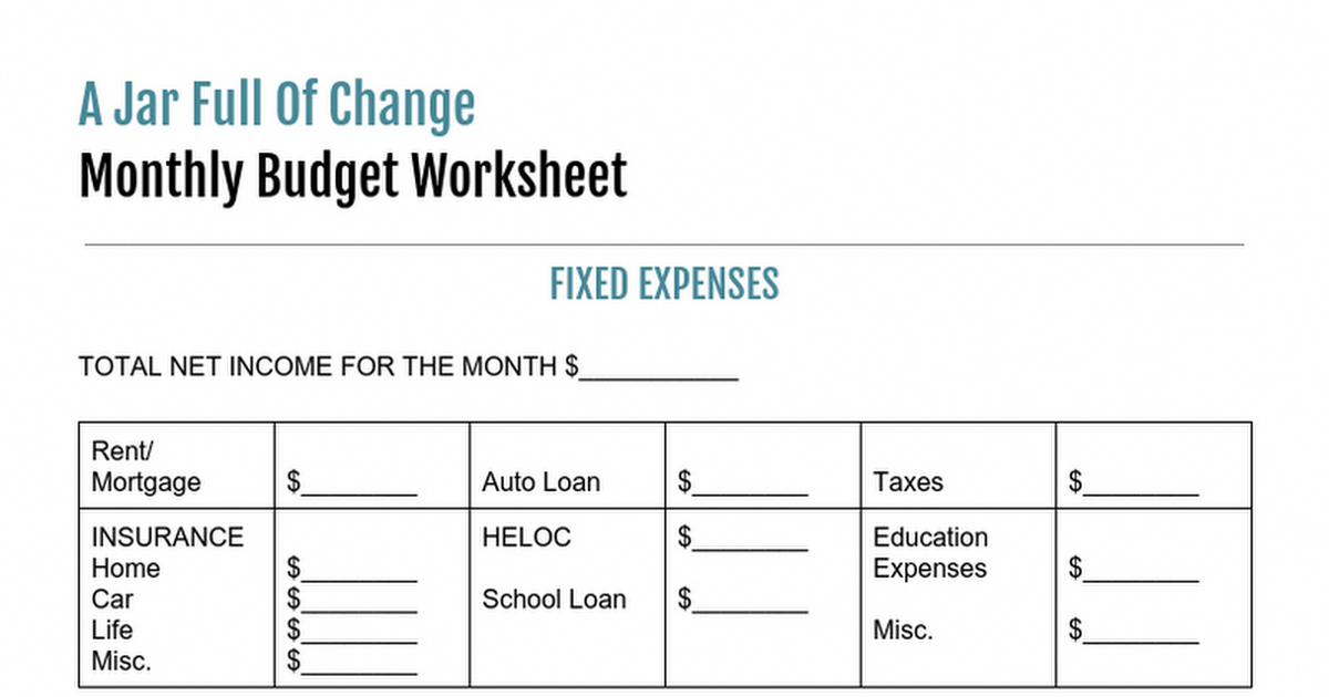 a jar full of change monthly budget worksheet fixed expenses total