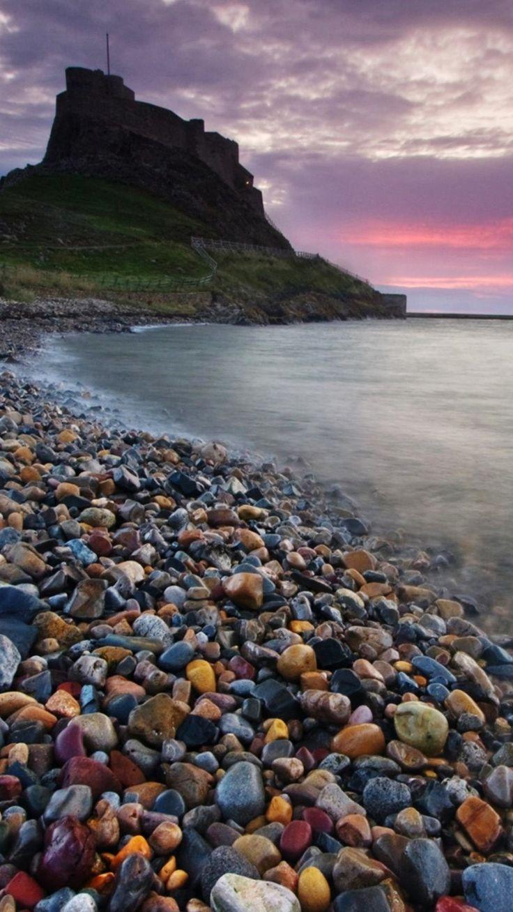 Ocean Beach Sunset Rock Stone wallpaper x | Pebble shore ...