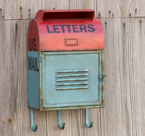 Reproduction Metal Mail Box With Hooks Vintage Mailbox Metal