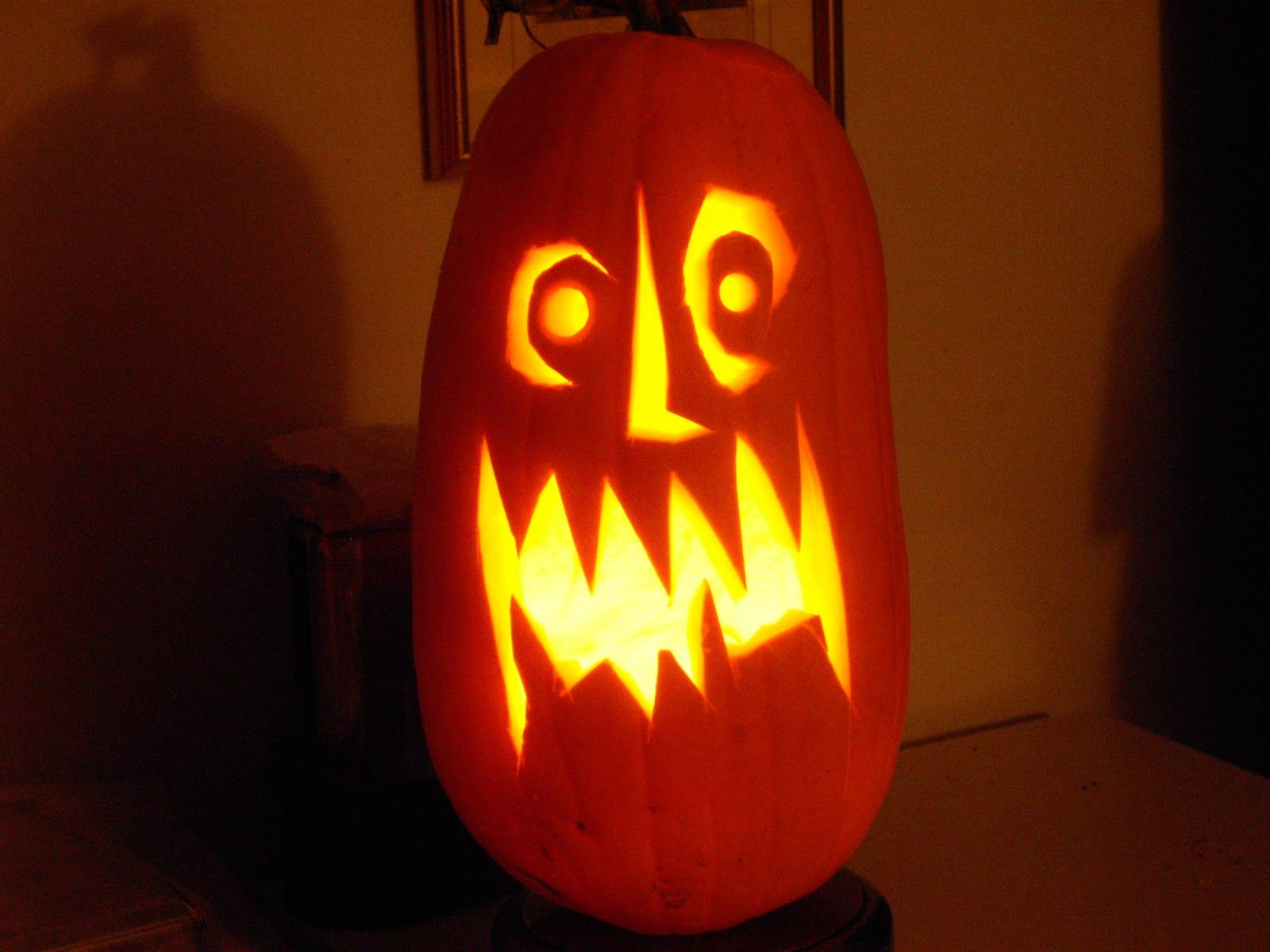Scary pumpkin faces it is a tall frightening face