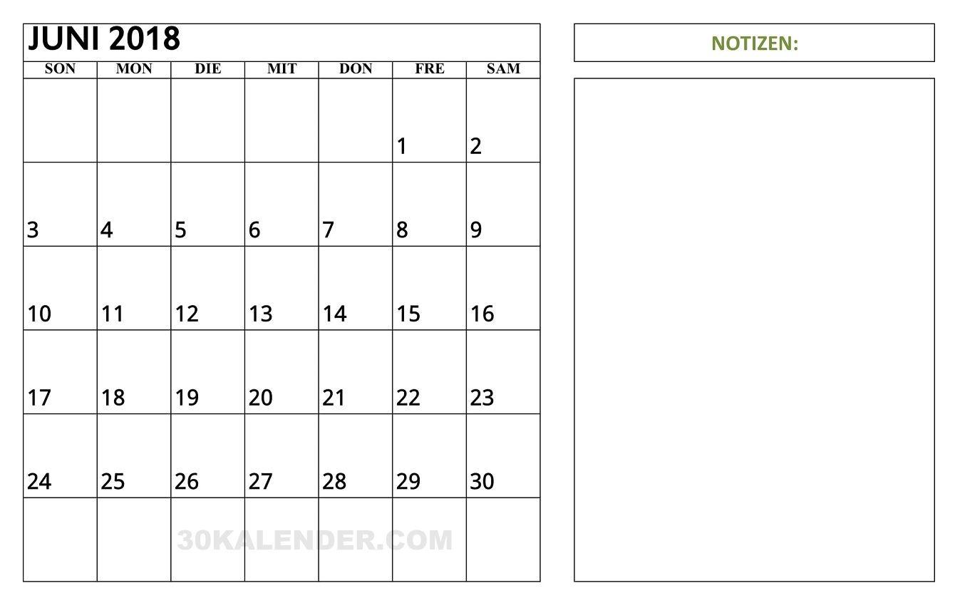 kalender juni 2018 mit notizen start von montag zum. Black Bedroom Furniture Sets. Home Design Ideas