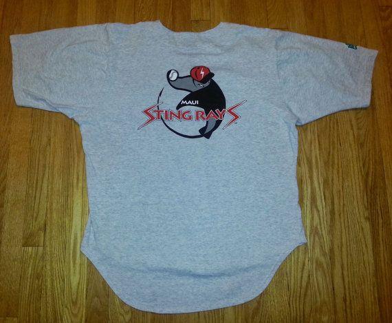 Vintage 90s Jersey Style T Shirt Maui Stingrays Button Etsy Weird Shirts Shirts T Shirt