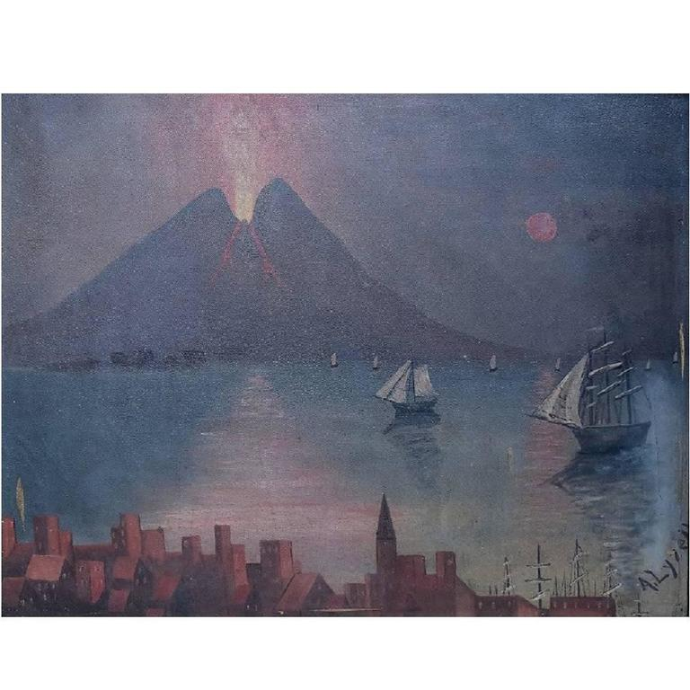 Naivistic Oil Painting, Gulf of Naples, Mount Vesuvius Erupted 1