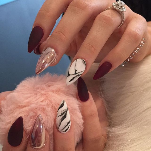 Burgundy, rose gold chrome, marble nail art. Perfect for Fall ...