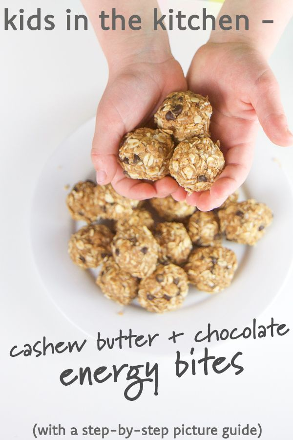 Cooking with kids is fun and delicious with these healthy, no bake cashew butter, oatmeal, and chocolate energy bites! They're dairy free, refined sugar free, gluten free, and peanut free. They're great for toddler and kid lunch boxes, after school snacks, travel snacks, and more. Kid friendly fun times ahead!