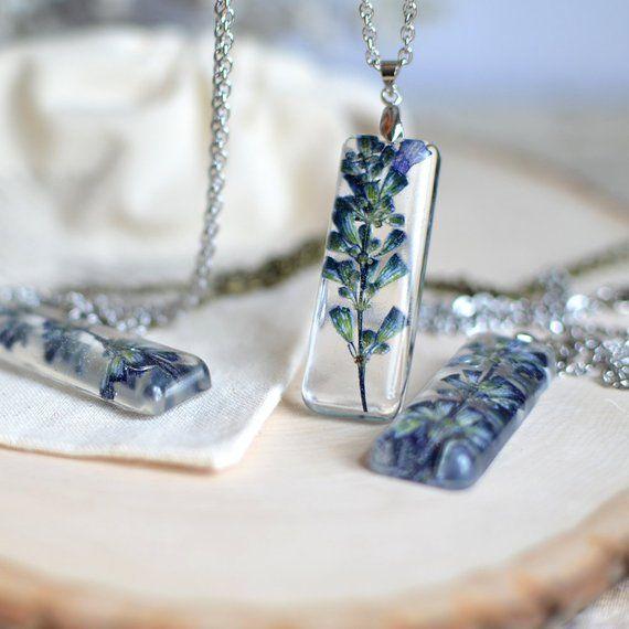 Lavender Necklace Terrarium Jewelry Pressed Flower Jewelry Botanical Necklace Gift Under 40 Flower Resin Jewelry Resin Jewelry Lavender Necklace