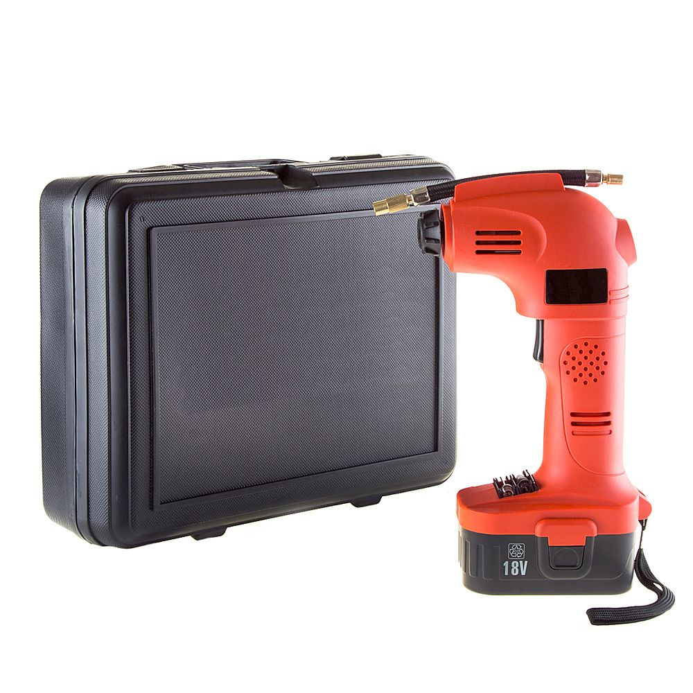 The Cordless Air Compressor from Fleming Supply has a maximum inflation capacity of 160 PSI or 11 BAR - ideal for use on car, motorcycle, and bike tires. This handy tire pump comes with a flexible hose, 2 inflation needles, an 18V nickel-cadmium rechargeable battery, a 12V car charger, and a standard outlet wall charger packed inside a convenient carry case. Whether you are blowing up rafts for the lake, a beach ball, or pumping up a basketball, this portable air compressor makes it easy to infl