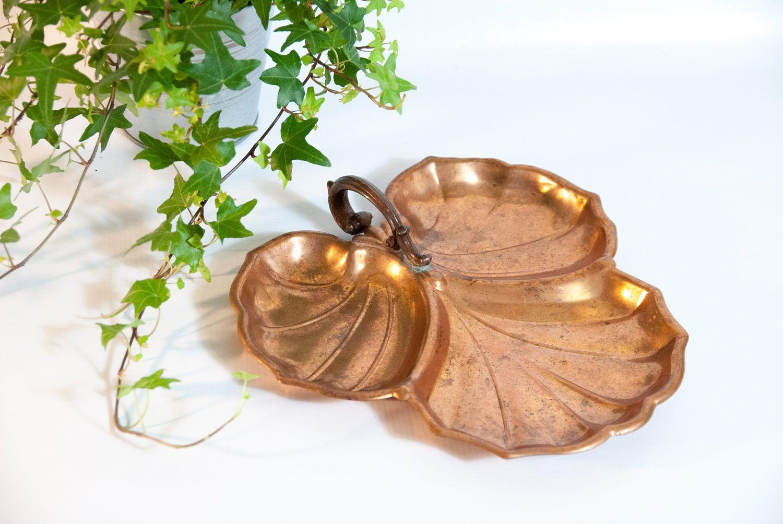 Decorative Leaf Bowl Vintage Decorative Copper Tray Copper Bowl Copper Catchall
