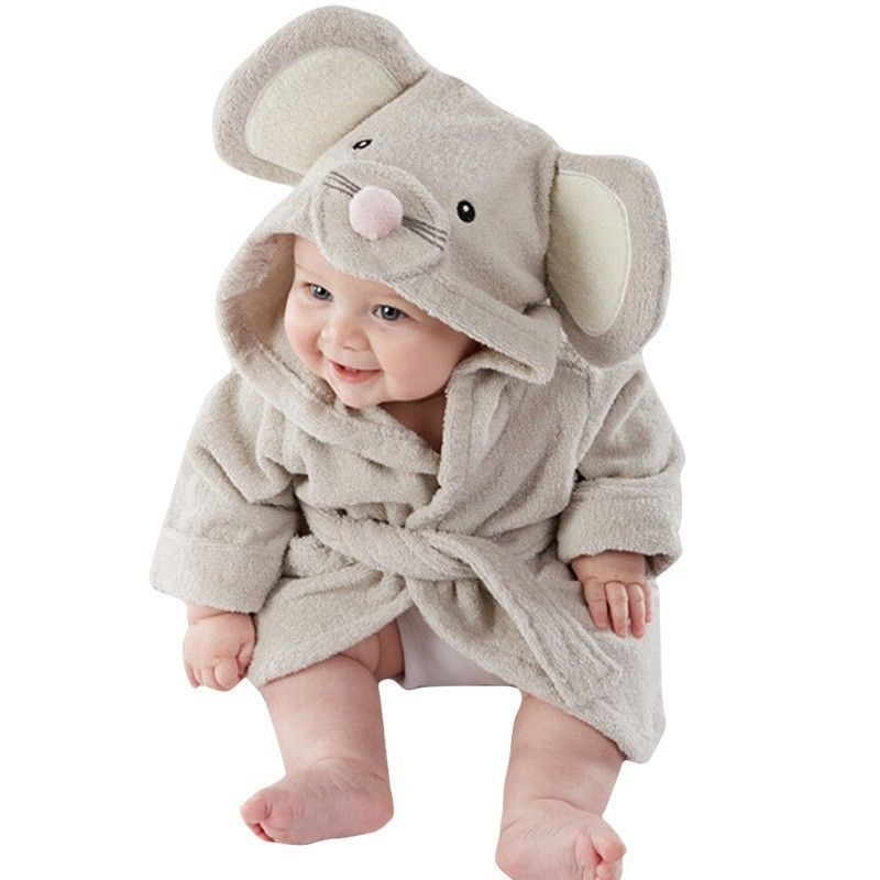 Cute Animal Cartoon Baby Kid S Hooded Bathrobe Toddler Boy Girls