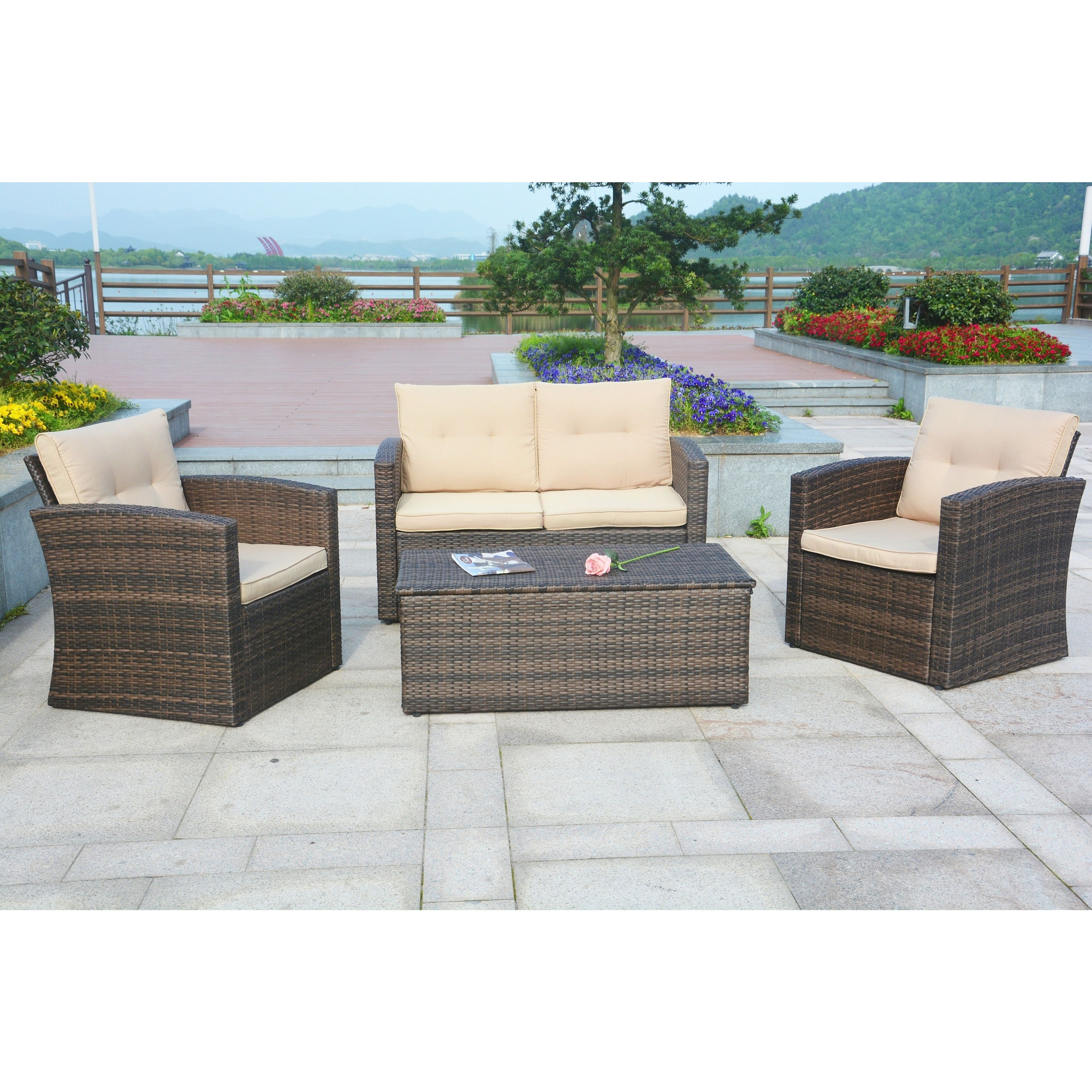 Puerta 4 piece Outdoor Wicker Patio Sofa Set with Cushion Box