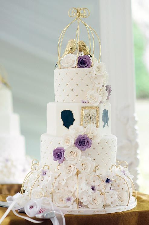 Glamorous purple and gold white wedding cake for the romantic couple; Featured Cake: Sophie Bifield Cake Company