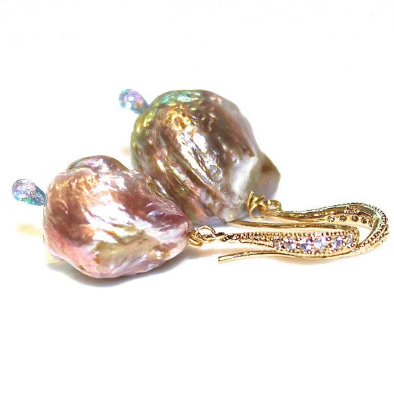 Rainbow Pondslime Baroque Pearl Earring Huge Large Pave Earrings
